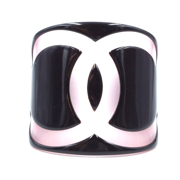 Chanel Jewelry - Black Pink Rare Large Wide Cc Cuff Bangle Bracelet
